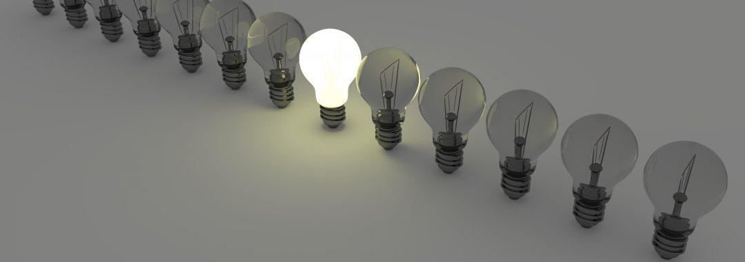 Thinking of an idea lightbulbs